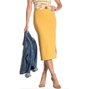 Velvet torch ribbed side slit midi skirt